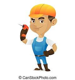 Handyman holding drill