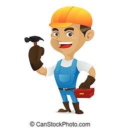 Handyman holding hammer and toolbox