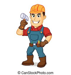 Handyman holding hammer