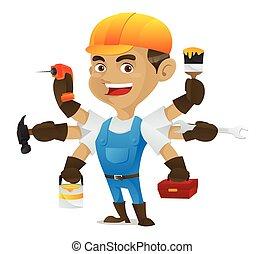 Handyman holding multiple tools