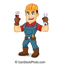Handyman holding pipe wrench cartoon illustration, can be download in vector format for unlimited image size