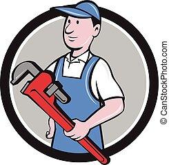 Handyman Holding Pipe Wrench Circle Cartoon