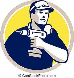 Handyman Holding Power Drill Circle Retro - Illustration of...