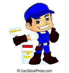 Handyman holding roller paint
