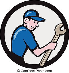 Handyman Holding Spanner Circle Cartoon