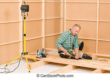 Handyman home improvement wooden floor renovation