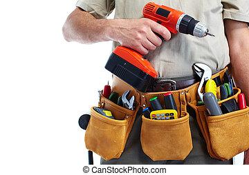 handyman, hos, en, værktøj bælte, og, drill.