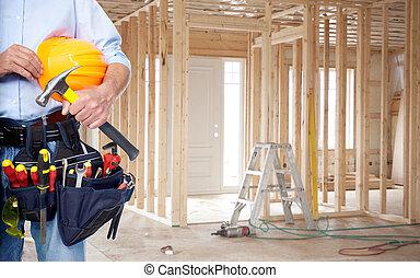 handyman, hos, en, værktøj, belt.