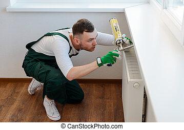 handyman, hour., aplicando, polyurethane, jovem, repairer,...
