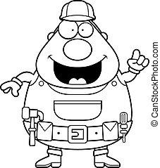 Handyman Idea - A happy cartoon handyman with an idea.
