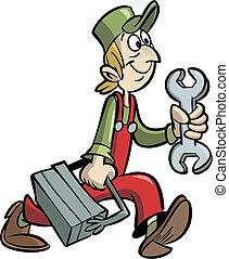 Handyman cartoon holding wrench and tool box