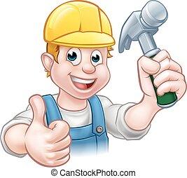 handyman, karakter, timmerman, vasthouden, hamer, spotprent