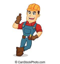 Handyman leaning give thumb up
