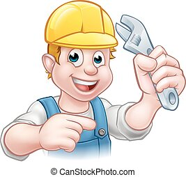 Handyman Mechanic or Plumber with Spanner