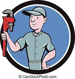 Handyman Monkey Wrench Circle Cartoon