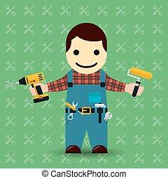 Handyman or mechanic vector illustration