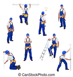 Handyman or worker in different working positions