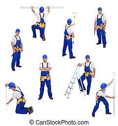 handyman, ou, trabalhador, em, diferente, trabalhando, posições