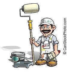 Handyman - Painter - Cartoon illustration of a handyman -...