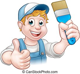 Handyman Painter Decorator Holding Paintbrush