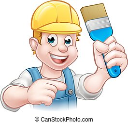 Handyman Painter Decorator With Paintbrush