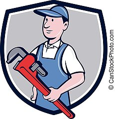 Handyman Pipe Wrench Crest Cartoon - Illustration of a...