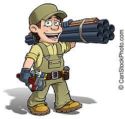 Handyman - Plumber Khaki - Cartoon illustration of a ...