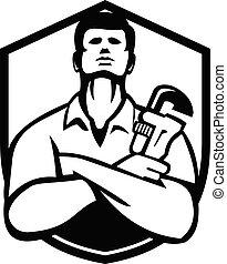 handyman-plumber-monkey-wrench-front_FIN-CREST_BW-CUT