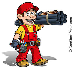 Cartoon illustration of a handyman - plumber carrying pipes and a wrench.