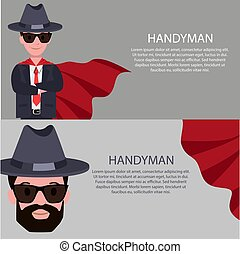 Handyman Poster Text Sample Vector Illustration