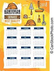 Handyman repair service 2018 calendar template
