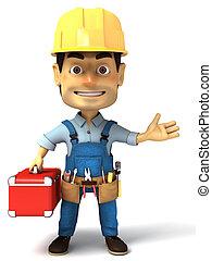 handyman, segurando, ferramentas, caixa