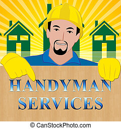 Handyman Services Shows House Repair 3d Illustration -...