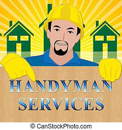 Handyman Services Showing House Repair 3d Illustration