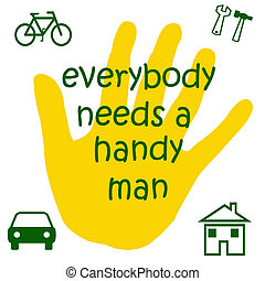 handyman sign - handyman poster yellow and green symbols on...
