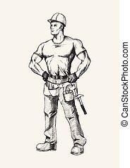 Sketch illustration of a handyman