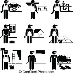 A set of pictograms showing the professions of people in the skilled labor industry.