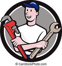 Handyman Spanner Monkey Wrench Circle Cartoon