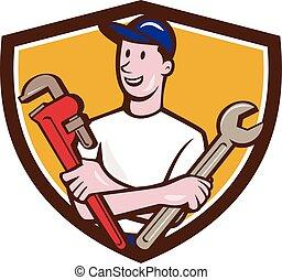 Handyman Spanner Monkey Wrench Crest Cartoon