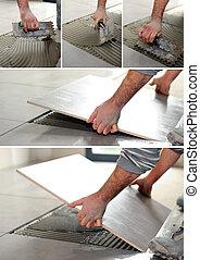handyman spreading glue on the floor