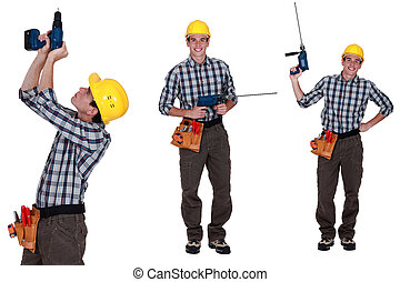 Handyman standing with power drill