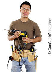 Handyman - Stock image of handyman over white background