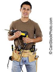 Handyman - Stock image of handyman over white background