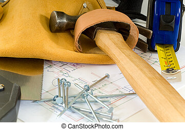 Handyman or construction worker items including a leather...