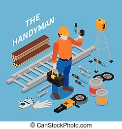 Handyman Tools Isometric Composition