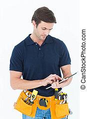 Handyman using digital table over white background