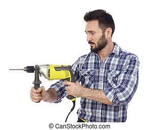 Handyman using drill