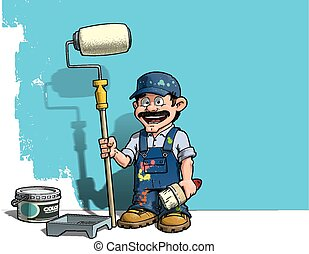 Cartoon illustration of a handyman - Painter standing by a paint bucket & a paint tray, holding a paint roller in front of a half-painted wall.