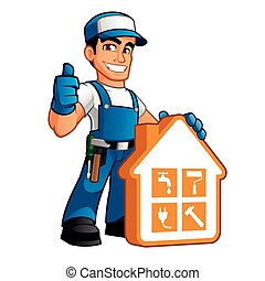 Handyman wearing work clothes
