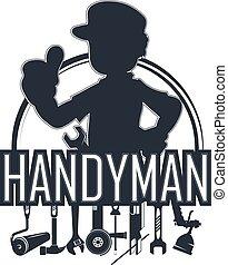 handyman, werktuig, silhouette